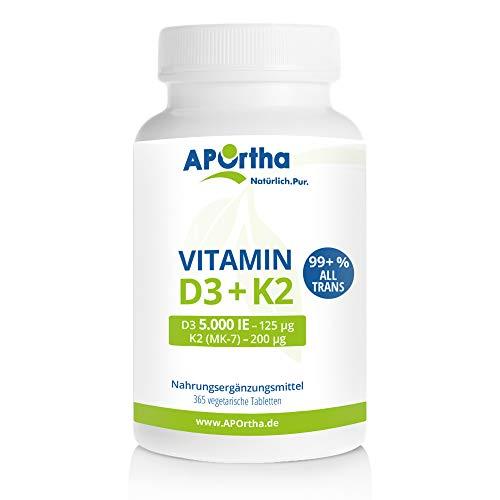 APOrtha Vitamin D3 5.000 I.E + 200 µg K2 99+% ALL-Trans I 365 vegetarische Tabletten hochdosiert I Vitamin D und K I D3 Vitamin K2 Tablette leicht zu schlucken - Alternative zu Tropfen und Kapseln