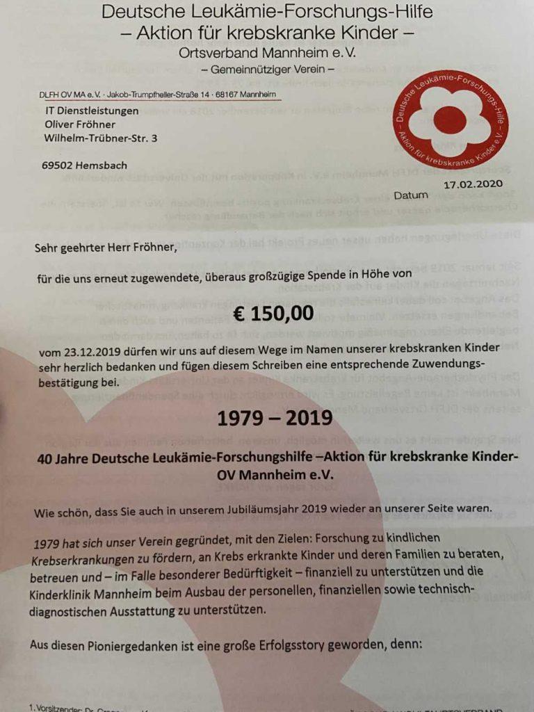 Spendenquittung 2019